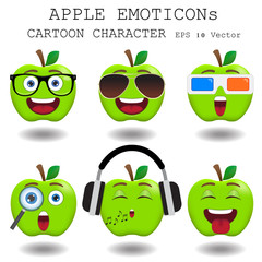 Apple emoticon cartoon character eps 10 vector
