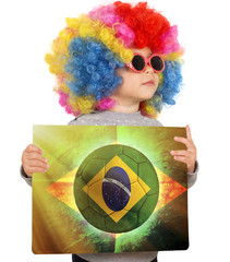 Child with Brazilian soccer background