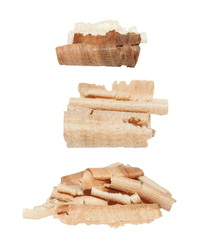 set wood shavings isolated on white background