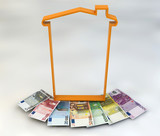 Fototapety Casa spesa tassa Imu soldi banconote euro