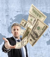 Businessman throwing dollar