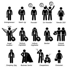 Business Entrepreneur Investors and Competitors Cliparts