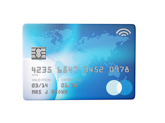 blue credit card 3d render flat front view