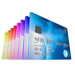 set of credit cards standing viewed from low angle