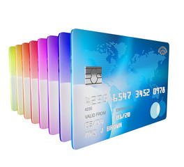 3d render of set of differnt credit cards