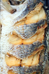 texture of seabass or lates fish deep fried.