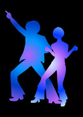 Silhouette Illustration of couples dancing in 70s style