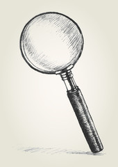 Sketch illustration of a magnifying glass