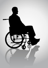 Silhouette illustration of a person on a wheelchair