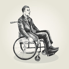 Sketch illustration of a person on wheelchair
