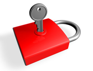 silver key in the lock of a red padlock