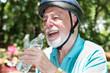 Active Senior Drinks Water