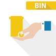 Yellow bin concept,vector