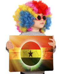 Child with Ghana soccer background