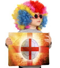 Child with England soccer background