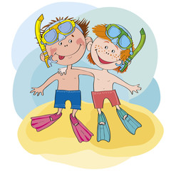 2 boys sit on a beach skin diving.Separate layers for editing