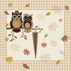Greeting autumn card with owls