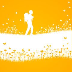 hiking in the nature vector silhouette