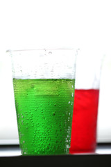 red and green of sweetened beverages.
