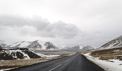 the road to  snaefellsne on the island iceland