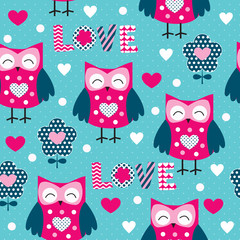 seamless owl pattern vector illustration