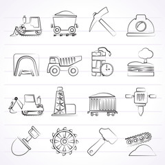 Mining and quarrying industry icons - vector icon set