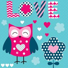 love owl vector illustration
