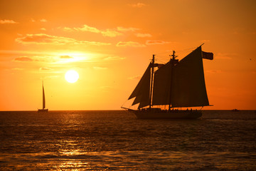 Key West Sunset and sailing boat, Key West, Florida, USA