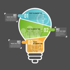 Three Part Bulb Infographic Element