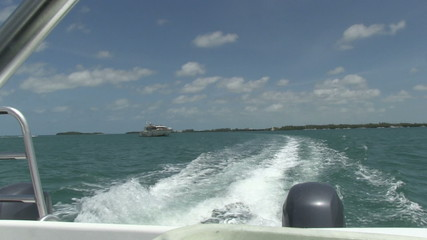 Motorboat speeding away from Key West, Florida