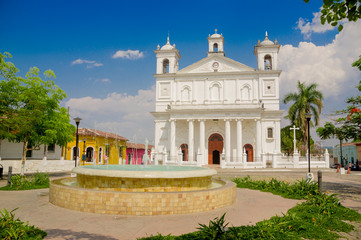 main square church, Suchitoto town in El Salvador