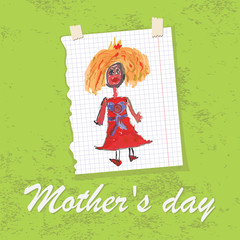 Children's hand drawing greeting card.Doodles.Mother's day
