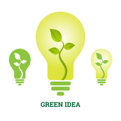 Green Idea Plant Light Bulb