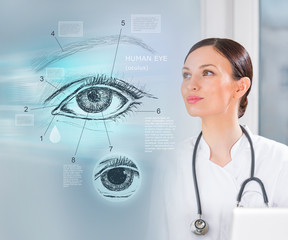 Doctor working virtual interface examining human eye