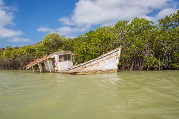 Small fishing boat moored in Punta Gallinas
