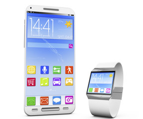 smartwatch and a smartphone