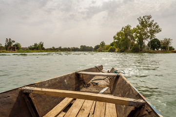 Pirogue on the Niger River