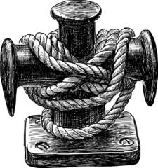 bollard of sailing ship