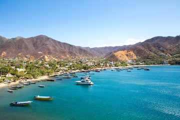 Taganga Bay with the traditional fishing boats