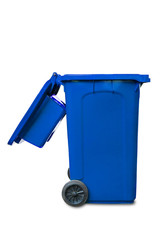 Large open lid blue garbage bin on white background