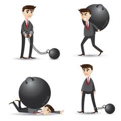 cartoon businessman set of failure