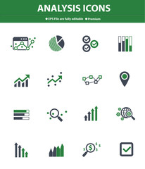 Analysis icons on white background,Green version