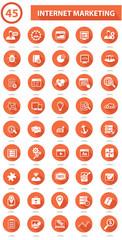 45 SEO & Marketing icons on white background,Orange version