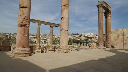 Roman ruins in the Jordanian city of Jerash, Jordan