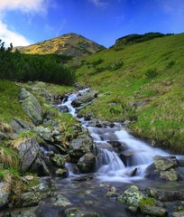 Waterfall in valley Ziarska dolina, Western Tatras, Slovakia
