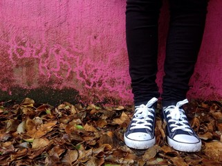 standing by autumn leaves pink wall