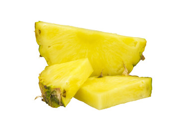 Pineapple sliced isolated on white