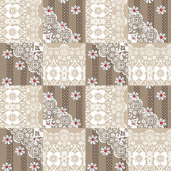 Patchwork seamless lace floral pattern on beige