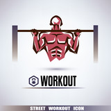 street workout symbol, man is pulling up on the horizontal bar