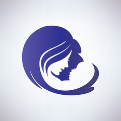 mother and her baby, isolated vector symbol